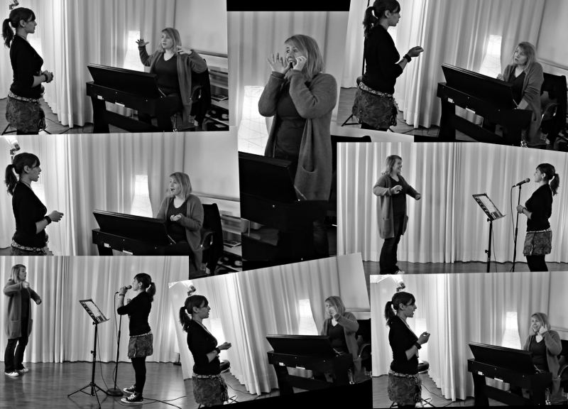 Foto Collage of Bianca J. Wilke teaching vocals offline face to face in Osnabrück.